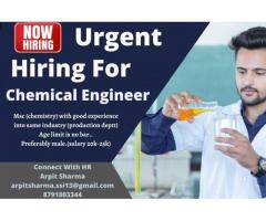 Hiring  for Chemical Engineer for Ghaziabad
