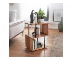Solid Wood And Metal S Side Table(solid wood furniture)